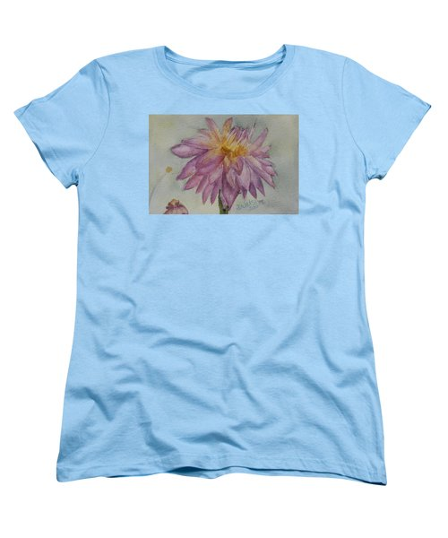 Women's T-Shirt (Standard Cut) featuring the painting Dahlia At Eastport Me by Donna Walsh