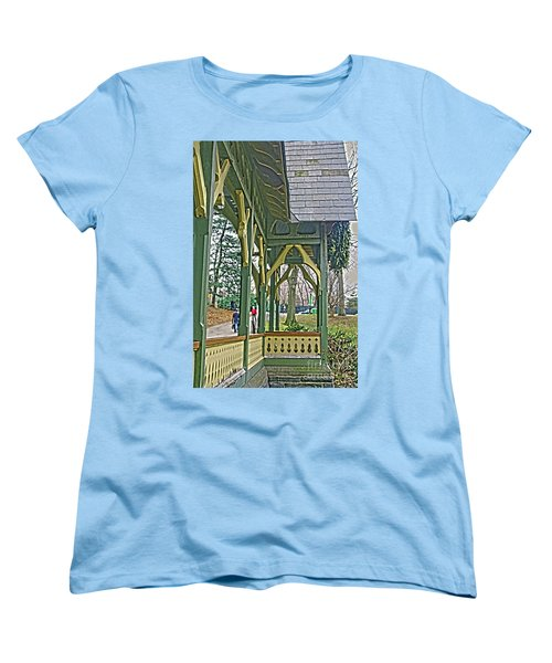 Women's T-Shirt (Standard Cut) featuring the photograph Dairy Cottage Porch by Sandy Moulder