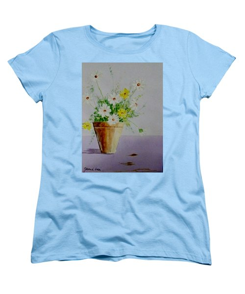 Women's T-Shirt (Standard Cut) featuring the painting Daisies In Pot by Jamie Frier