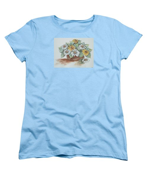Women's T-Shirt (Standard Cut) featuring the painting Daisy Craze by Sharyn Winters