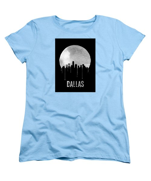 Dallas Skyline Black Women's T-Shirt (Standard Cut) by Naxart Studio