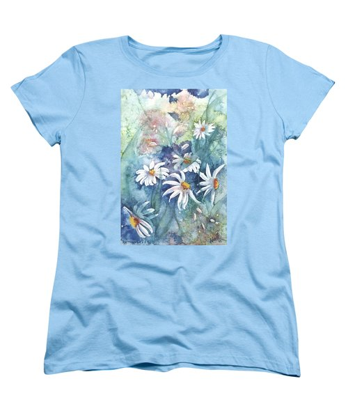 Women's T-Shirt (Standard Cut) featuring the painting Dancing Daisies by Renate Nadi Wesley