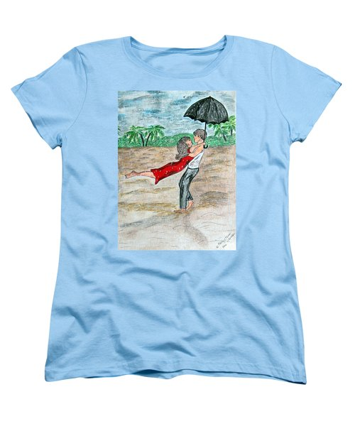 Dancing In The Rain On The Beach Women's T-Shirt (Standard Cut) by Kathy Marrs Chandler