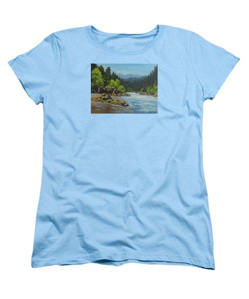 Women's T-Shirt (Standard Cut) featuring the painting Dancing River by Karen Ilari