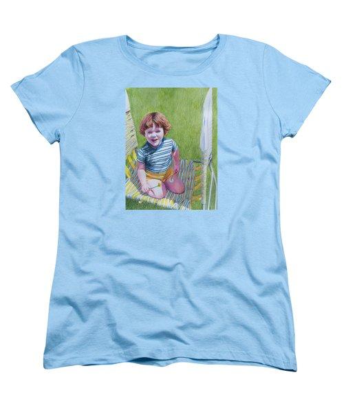 Women's T-Shirt (Standard Cut) featuring the mixed media Dandelion Girl by Constance DRESCHER