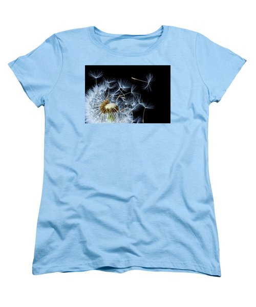 Women's T-Shirt (Standard Cut) featuring the photograph Dandelion On Black Background by Bess Hamiti