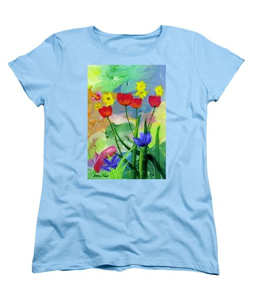 Women's T-Shirt (Standard Cut) featuring the painting Daria's Flowers by Jamie Frier