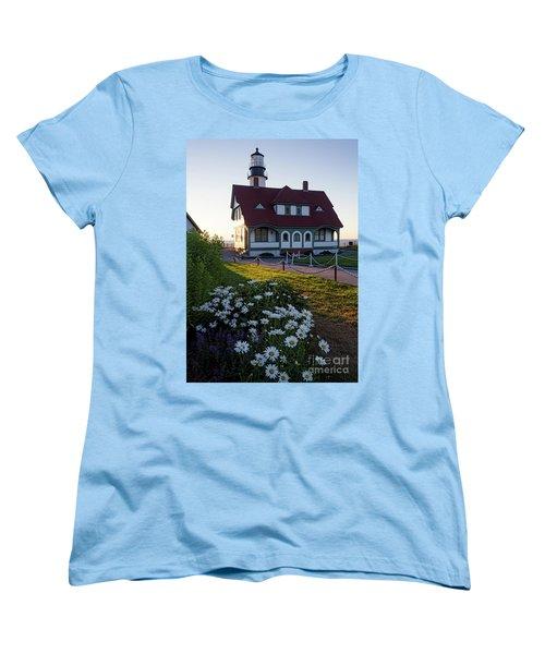 Women's T-Shirt (Standard Cut) featuring the photograph Dawn At Portland Head Light, Cape Elizabeth, Maine  -08614 by John Bald