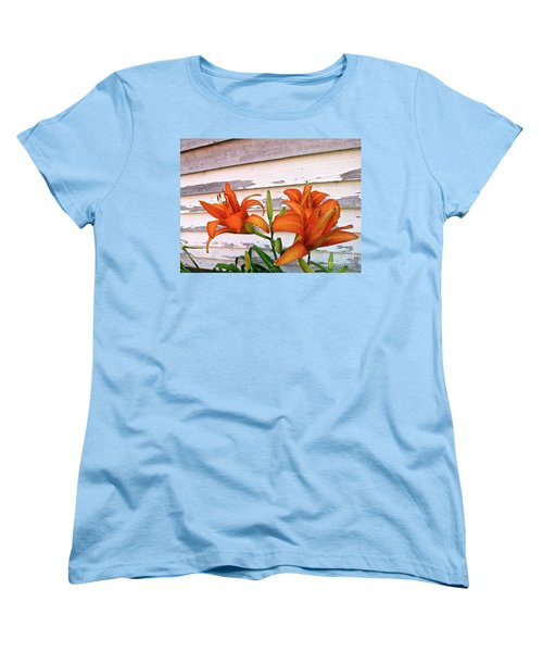 Day Lilies And Peeling Paint Women's T-Shirt (Standard Cut) by Nancy Patterson