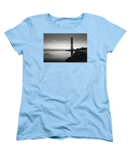 Women's T-Shirt (Standard Cut) featuring the photograph Daybreak At Barnegat, Black And White by Eduard Moldoveanu