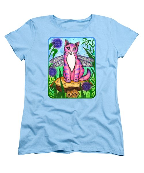 Women's T-Shirt (Standard Cut) featuring the painting Dea Dragonfly Fairy Cat by Carrie Hawks