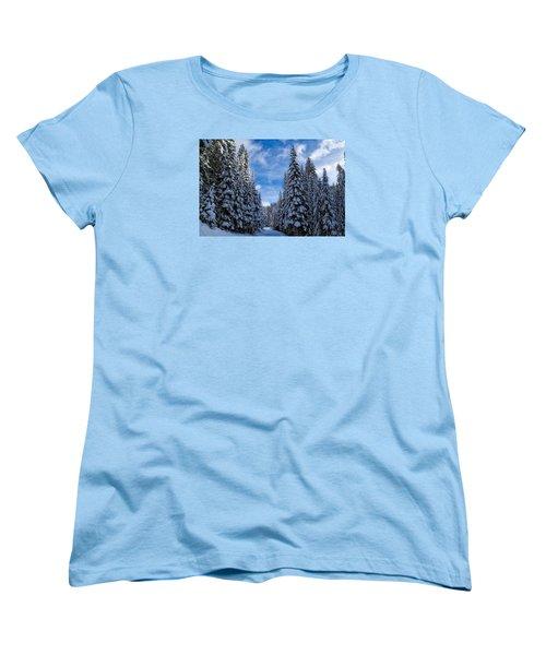 Deep In The Snowy Forest Women's T-Shirt (Standard Cut) by Lynn Hopwood