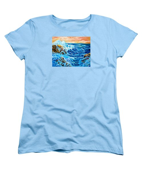 Women's T-Shirt (Standard Cut) featuring the painting Deep by Jenny Lee
