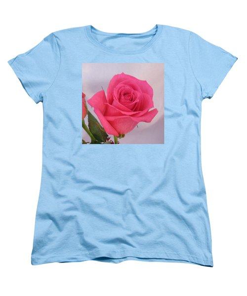 Deep Pink Rose Women's T-Shirt (Standard Cut) by Karen J Shine