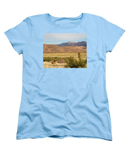 Women's T-Shirt (Standard Cut) featuring the photograph Deer And The Colorado Sand Dunes by James BO Insogna