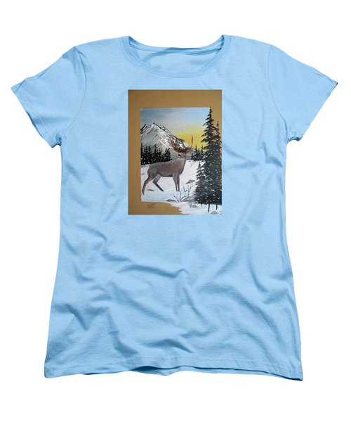 Women's T-Shirt (Standard Cut) featuring the painting Deer Hunter's Dream by Al  Johannessen