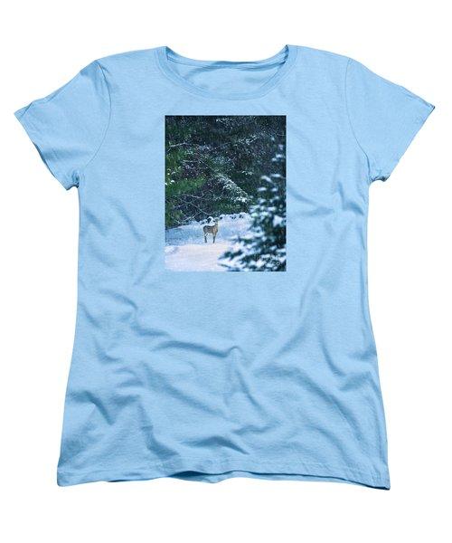 Deer In A Snowy Glade Women's T-Shirt (Standard Cut) by Diane Diederich