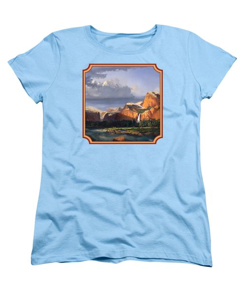 Deer Meadow Mountains Western Stream Deer Waterfall Landscape - Square Format Women's T-Shirt (Standard Fit)