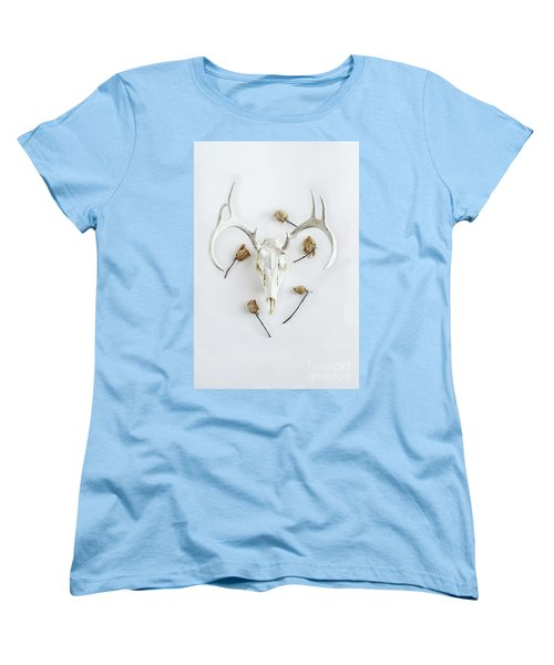 Women's T-Shirt (Standard Cut) featuring the photograph Deer Skull With Antlers And Roses by Stephanie Frey