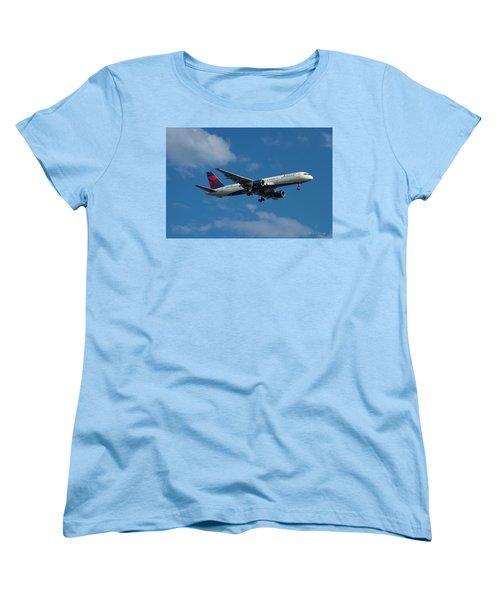 Delta Air Lines 757 Airplane N668dn Women's T-Shirt (Standard Cut) by Reid Callaway