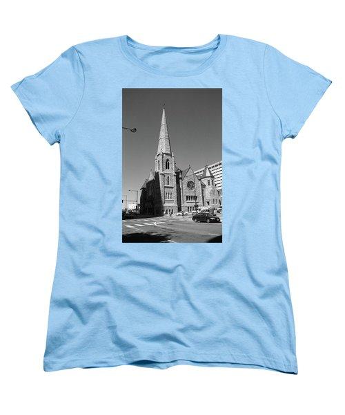 Denver Downtown Church Bw Women's T-Shirt (Standard Cut) by Frank Romeo