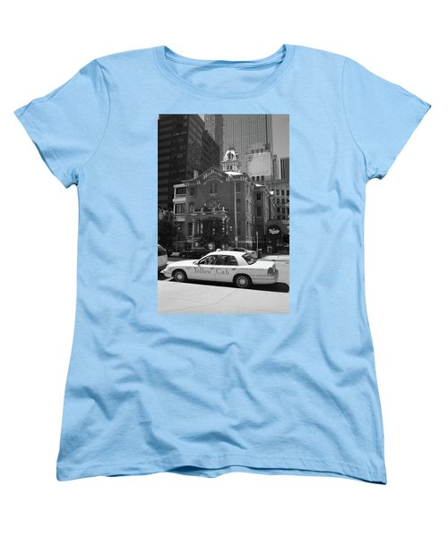 Denver Downtown With Yellow Cab Bw Women's T-Shirt (Standard Cut) by Frank Romeo