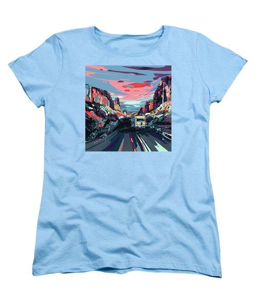 Desert Road Landscape Women's T-Shirt (Standard Cut) by Bekim Art