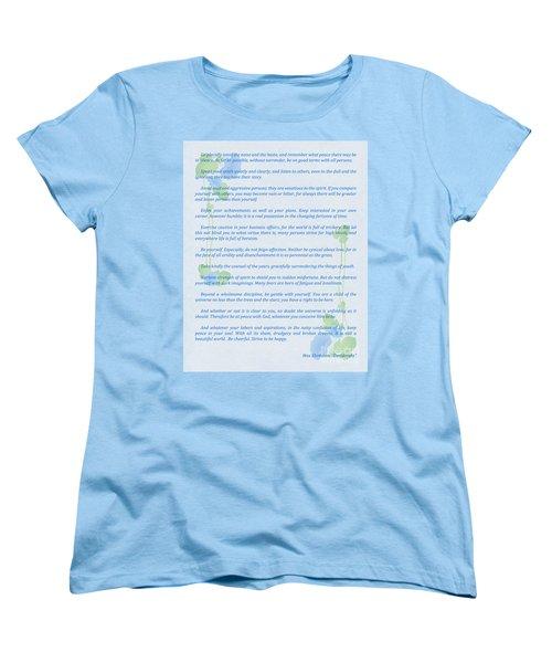 Desiderata In Blue Women's T-Shirt (Standard Cut) by Olga Hamilton