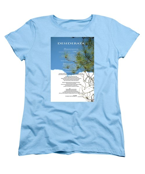 Desiderata Poem Over Sky With Clouds And Tree Branches Women's T-Shirt (Standard Cut) by Claudia Ellis