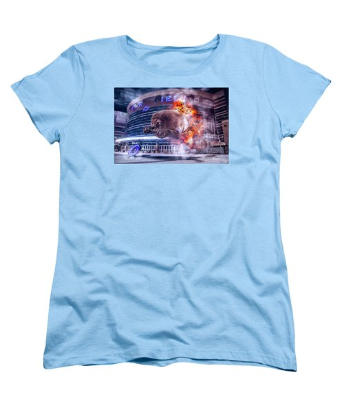 Women's T-Shirt (Standard Cut) featuring the photograph Detroit Lions At Ford Field 2 by Nicholas Grunas
