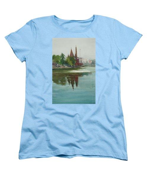 Women's T-Shirt (Standard Cut) featuring the painting Dhanmondi Lake 04 by Helal Uddin