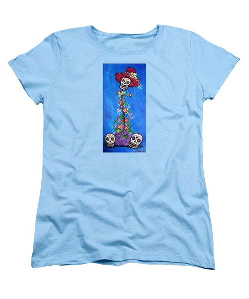 Women's T-Shirt (Standard Cut) featuring the painting Dia De Los Muertos by Pristine Cartera Turkus