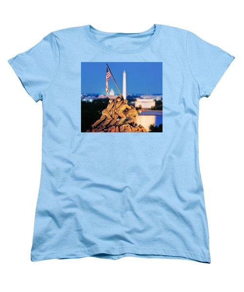 Digital Composite, Iwo Jima Memorial Women's T-Shirt (Standard Cut) by Panoramic Images