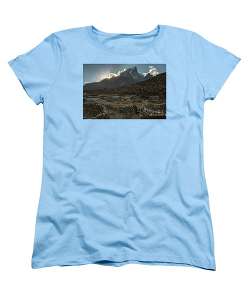Women's T-Shirt (Standard Cut) featuring the photograph Dingboche Evening Sunrays by Mike Reid
