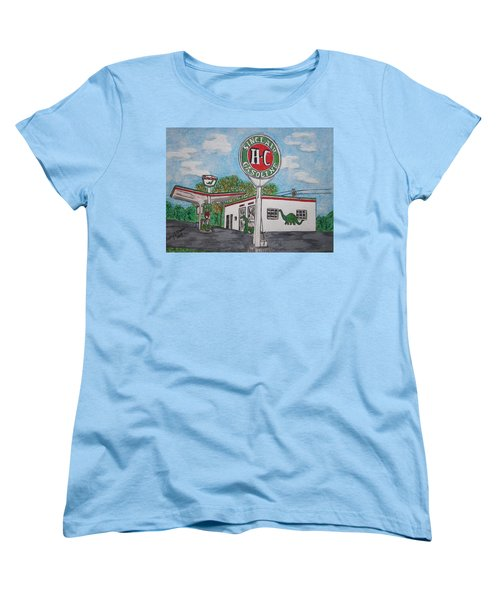 Dino Sinclair Gas Station Women's T-Shirt (Standard Cut) by Kathy Marrs Chandler
