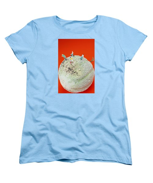 Women's T-Shirt (Standard Cut) featuring the painting Dirty Cleaning On Sweet Melon Little People On Food by Paul Ge