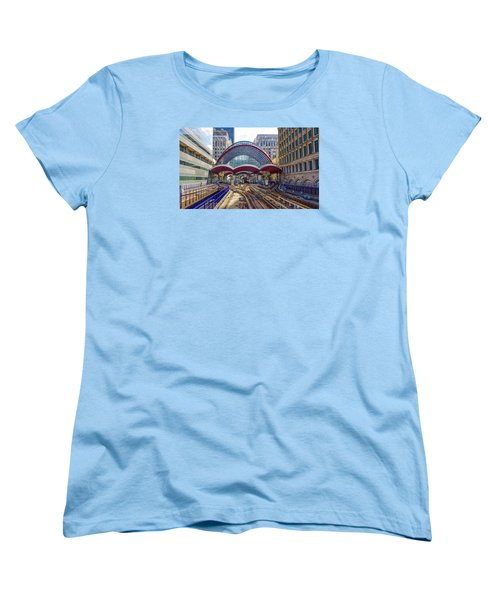 Dlr Canary Wharf And Approaching Train Women's T-Shirt (Standard Cut) by Venetia Featherstone-Witty
