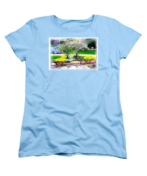 Women's T-Shirt (Standard Cut) featuring the photograph Do-00066 Lake Walk by Digital Oil