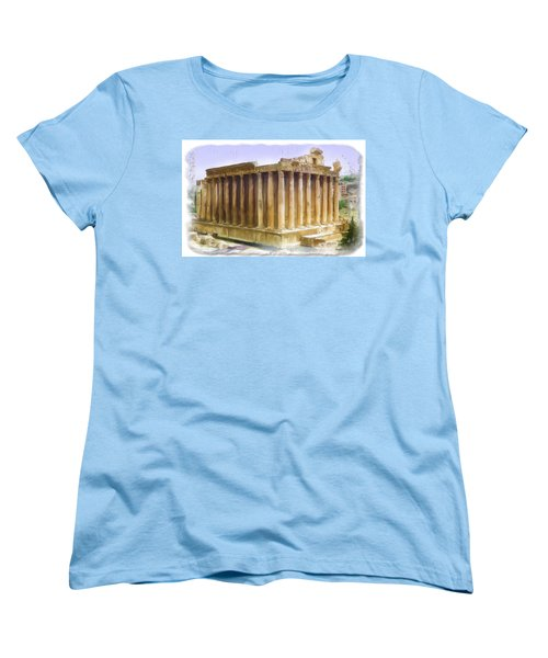Women's T-Shirt (Standard Cut) featuring the photograph Do-00312 Temple Of Bacchus In Baalbeck by Digital Oil