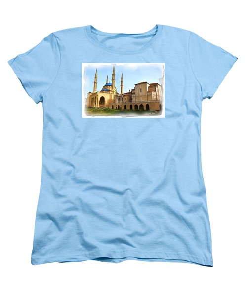 Women's T-Shirt (Standard Cut) featuring the photograph Do-00362al Amin Mosque And St George Maronite Cathedral by Digital Oil