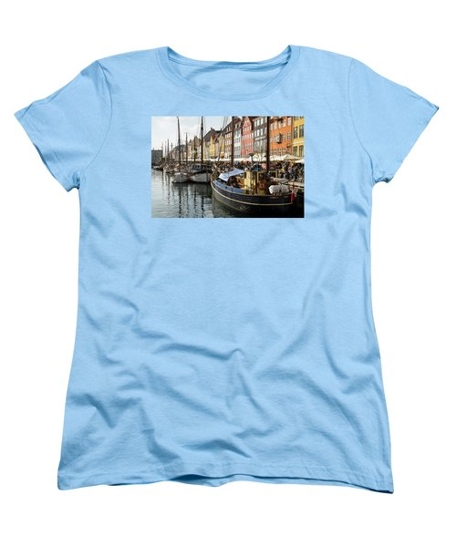 Dockside At Nyhavn Women's T-Shirt (Standard Cut) by Eric Nielsen
