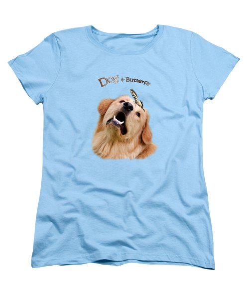 Dog And Butterfly Women's T-Shirt (Standard Cut) by Christina Rollo