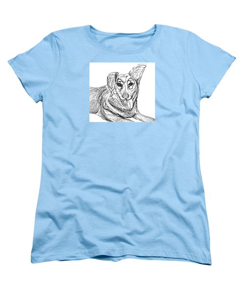 Women's T-Shirt (Standard Cut) featuring the drawing Dog Sketch In Charcoal 1 by Ania Milo