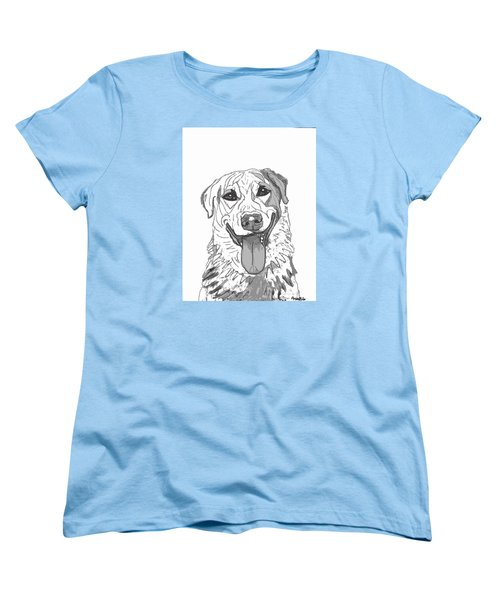 Women's T-Shirt (Standard Cut) featuring the drawing Dog Sketch In Charcoal 2 by Ania M Milo