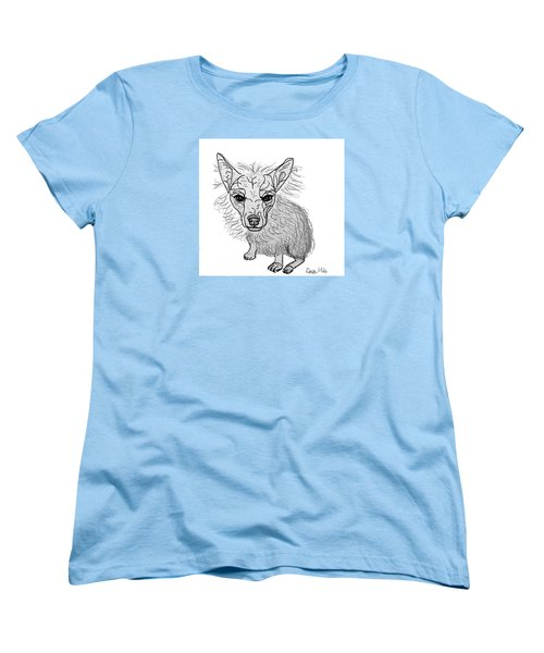 Women's T-Shirt (Standard Cut) featuring the drawing Dog Sketch In Charcoal 3 by Ania M Milo