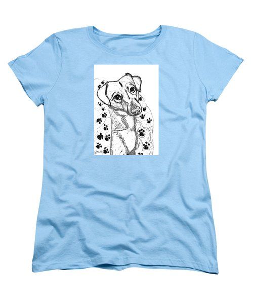 Women's T-Shirt (Standard Cut) featuring the drawing Dog Sketch In Charcoal 4 by Ania M Milo