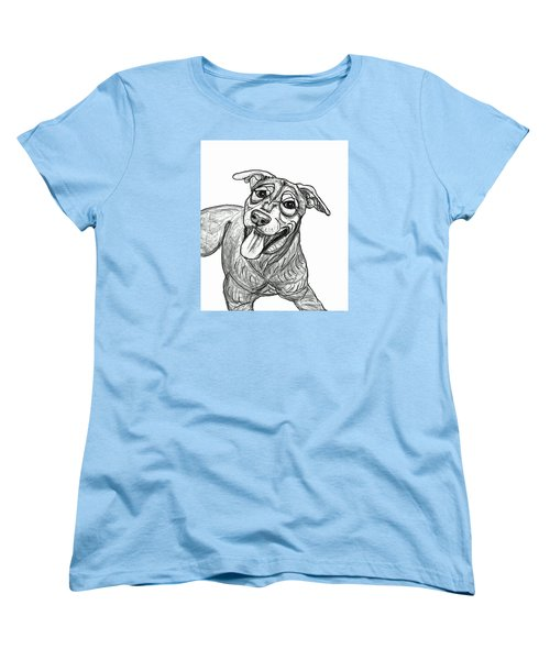 Women's T-Shirt (Standard Cut) featuring the drawing Dog Sketch In Charcoal 5 by Ania M Milo