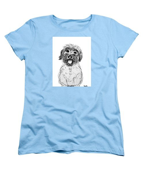 Women's T-Shirt (Standard Cut) featuring the drawing Dog Sketch In Charcoal 6 by Ania M Milo