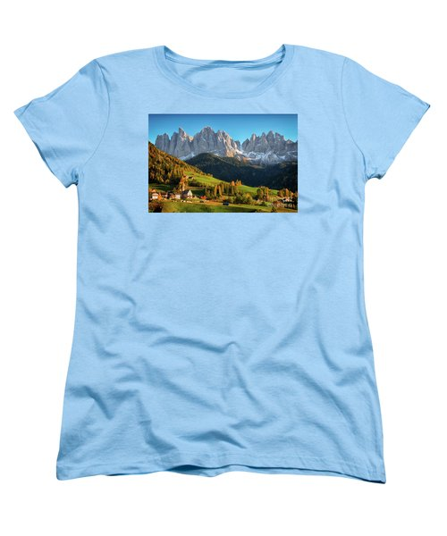 Dolomite Village In Autumn Women's T-Shirt (Standard Cut) by IPics Photography