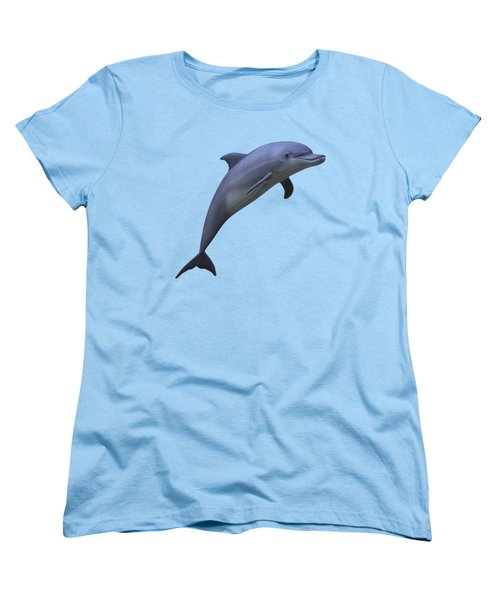 Dolphin In Ocean Blue Women's T-Shirt (Standard Cut) by Movie Poster Prints